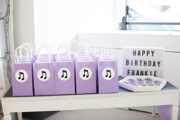 Music note gift bags from a Monochromatic Just Dance Birthday Party on Kara's Party Ideas | KarasPartyIdeas.com (21)