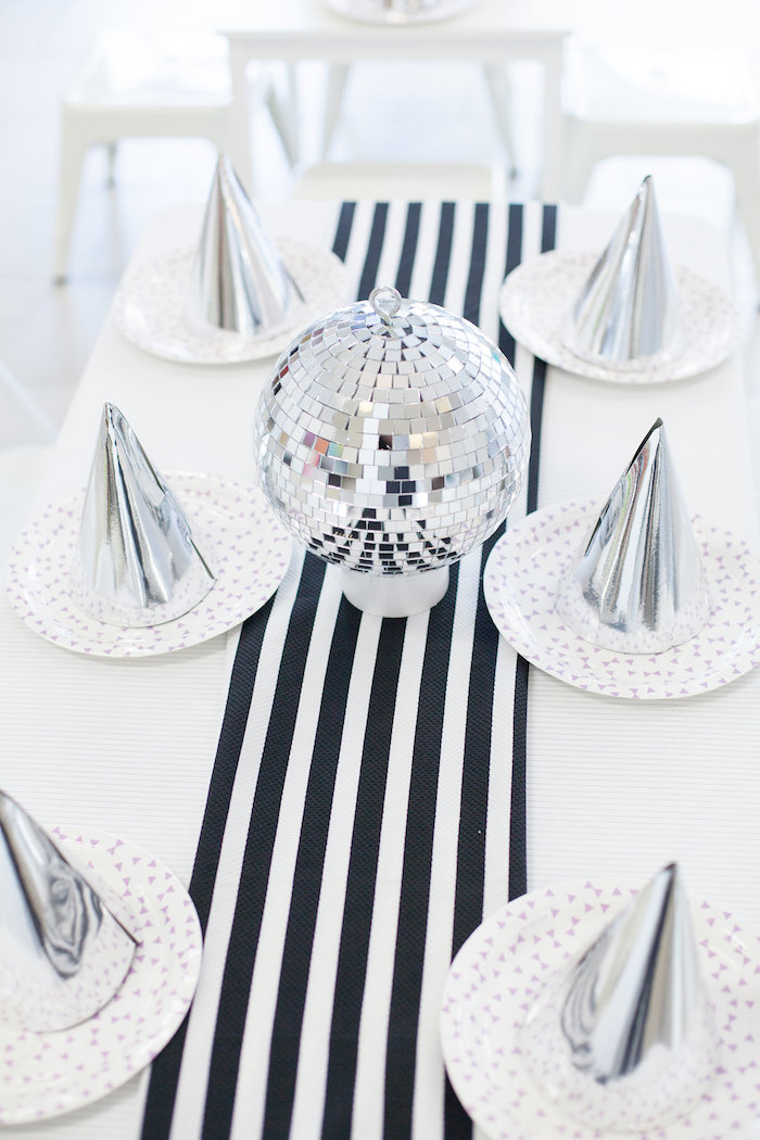 Guest table from a Monochromatic Just Dance Birthday Party on Kara's Party Ideas | KarasPartyIdeas.com (19)