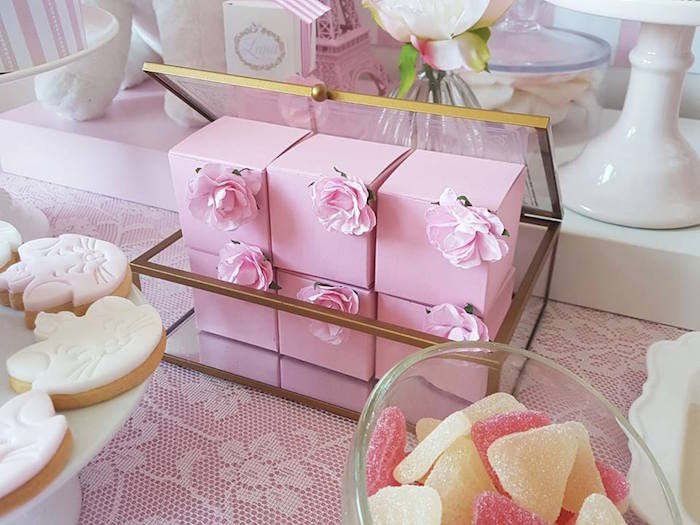 "Pink flowered favor boxes from a Parisian ""Aristocats"" Birthday Party on Kara's Party Ideas 