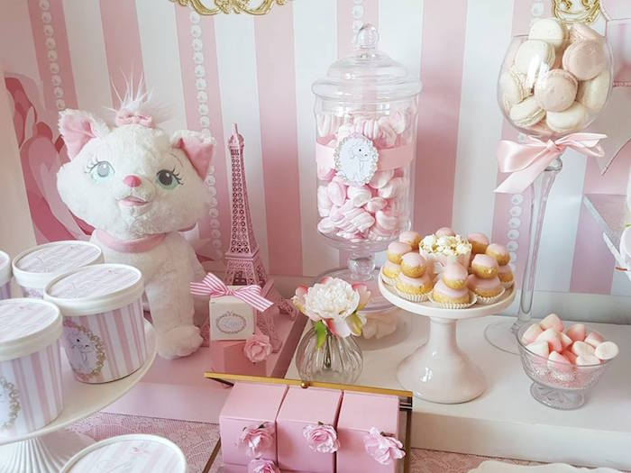 "Dessert table details from a Parisian ""Aristocats"" Birthday Party on Kara's Party Ideas 