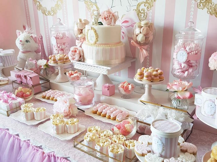 "Dessert tablescape from a Parisian ""Aristocats"" Birthday Party on Kara's Party Ideas 
