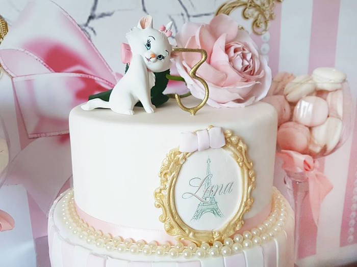 "Aristocat cake toppers from a Parisian ""Aristocats"" Birthday Party on Kara's Party Ideas 