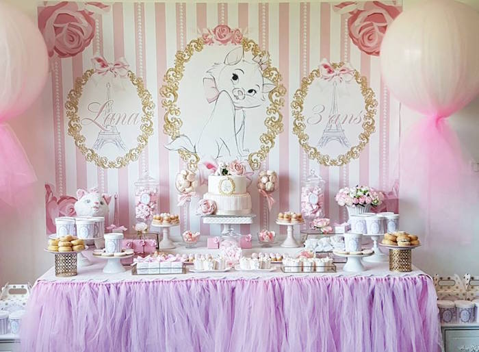 "Parisian dessert table from a Parisian ""Aristocats"" Birthday Party on Kara's Party Ideas 