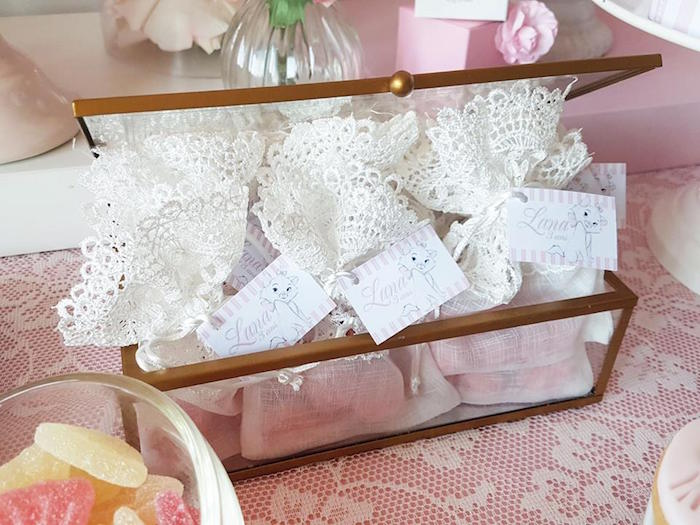 "Lace favor pouches from a Parisian ""Aristocats"" Birthday Party on Kara's Party Ideas 