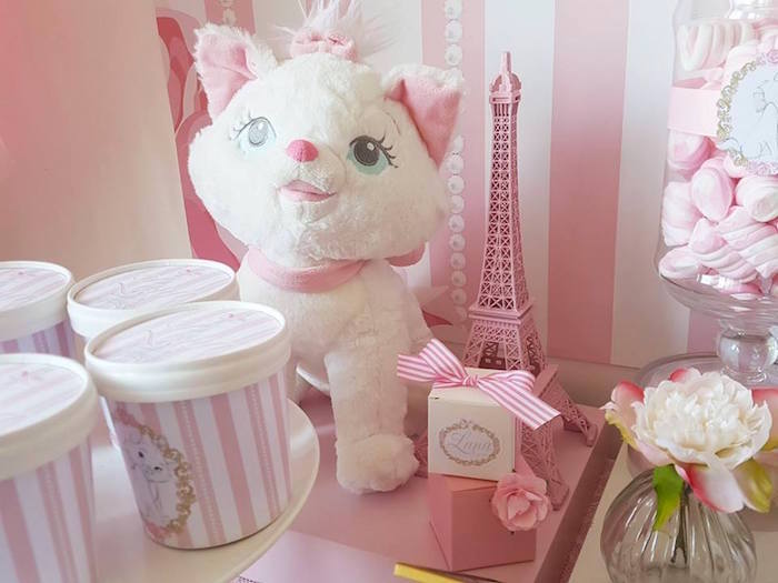 "Plush cat from a Parisian ""Aristocats"" Birthday Party on Kara's Party Ideas 