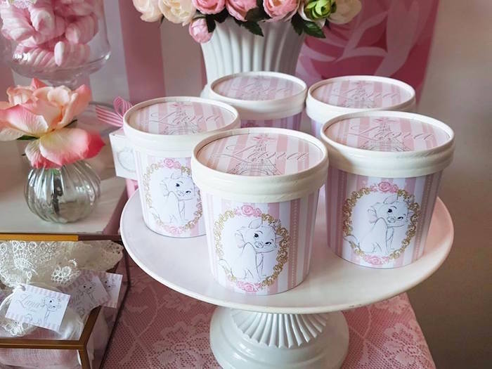 "Aristocats favor tubs from a Parisian ""Aristocats"" Birthday Party on Kara's Party Ideas 