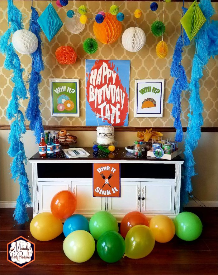 Partyscape with Balloons from Good Mythical Morning Inspired Party via Mandy's Party Printables via Kara's Party Ideas