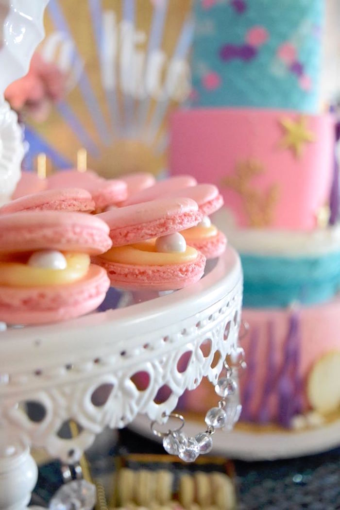 "Oyster macarons from a Pastel ""Let's Be Mermaids"" Birthday Party via Kara's Party Ideas 