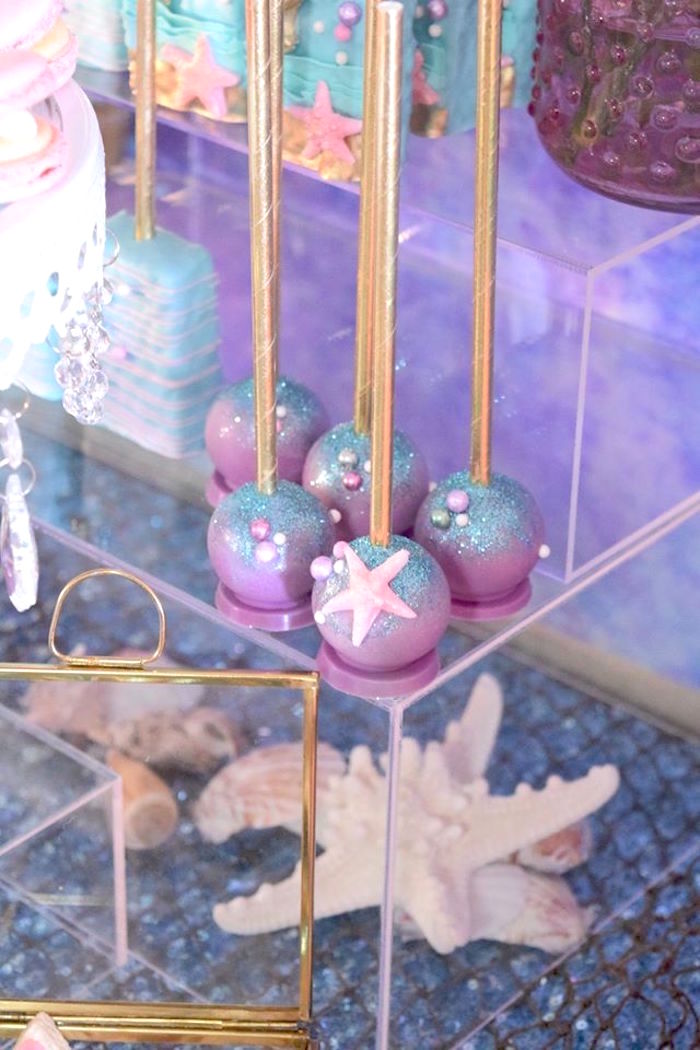 "Cake pops from a Pastel ""Let's Be Mermaids"" Birthday Party via Kara's Party Ideas 
