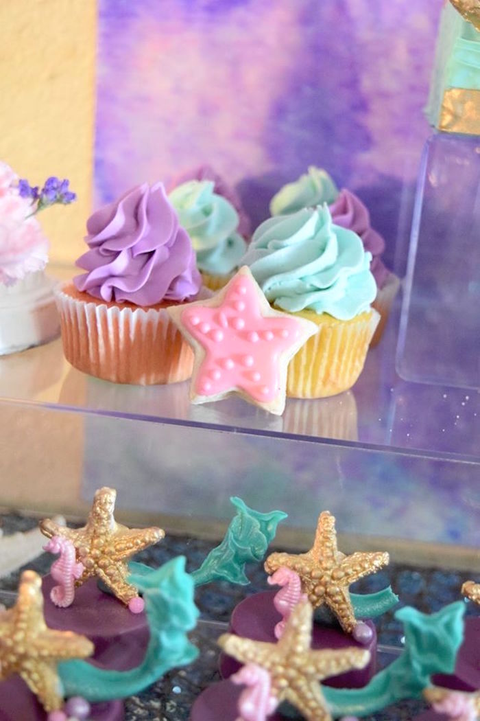 "Cupcakes from a Pastel ""Let's Be Mermaids"" Birthday Party via Kara's Party Ideas 