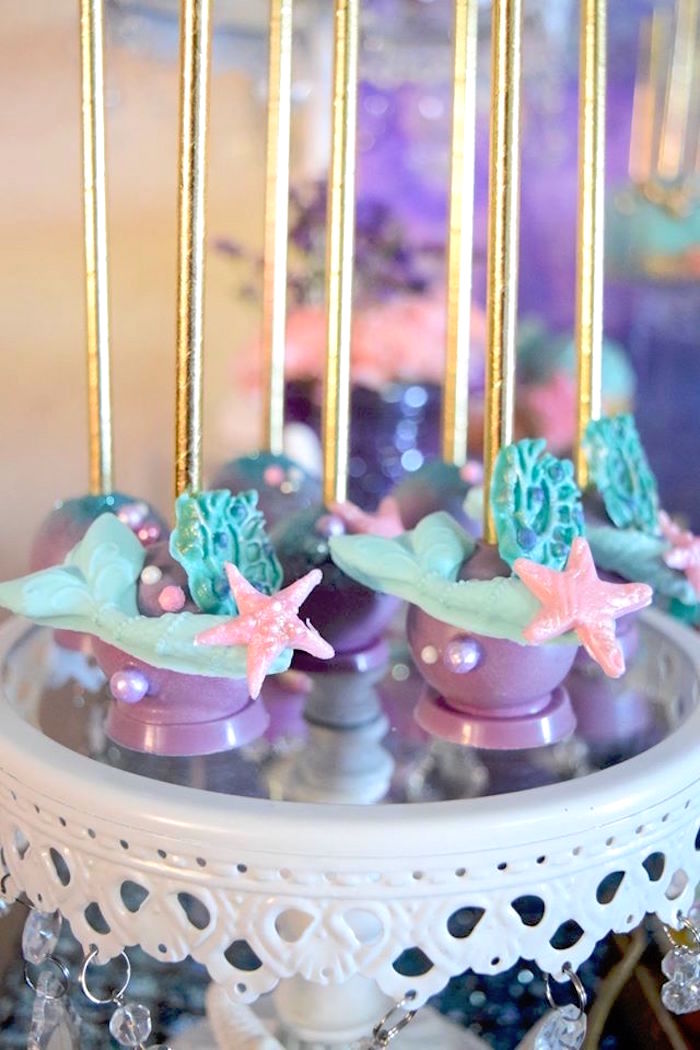 "Mermaid cake pops from a Pastel ""Let's Be Mermaids"" Birthday Party via Kara's Party Ideas 