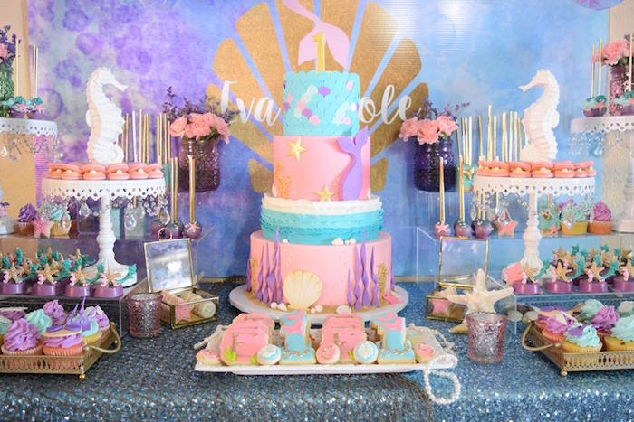 "Dessert tablescape from a Pastel ""Let's Be Mermaids"" Birthday Party via Kara's Party Ideas 