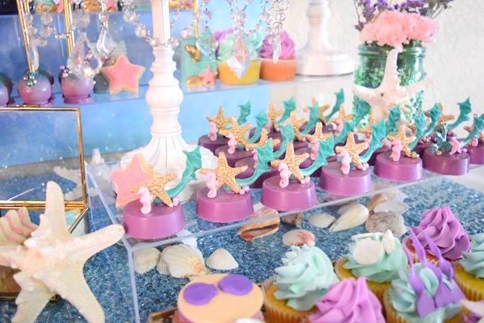 "Starfish Oreos from a Pastel ""Let's Be Mermaids"" Birthday Party via Kara's Party Ideas | KarasPartyIdeas.com on Kara's Party Ideas | KarasPartyIdeas.com (28)"