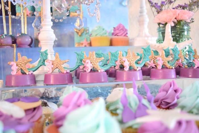 "Starfish Oreos from a Pastel ""Let's Be Mermaids"" Birthday Party via Kara's Party Ideas | KarasPartyIdeas.com on Kara's Party Ideas | KarasPartyIdeas.com (27)"