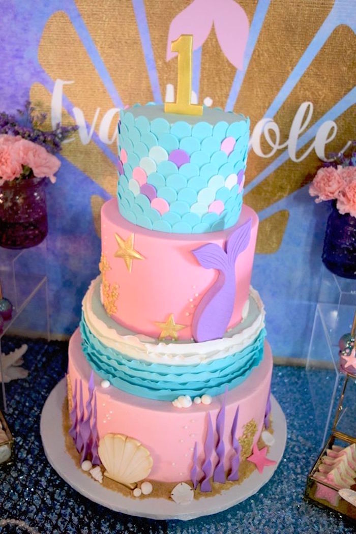 "Mermaid cake from a Pastel ""Let's Be Mermaids"" Birthday Party via Kara's Party Ideas 