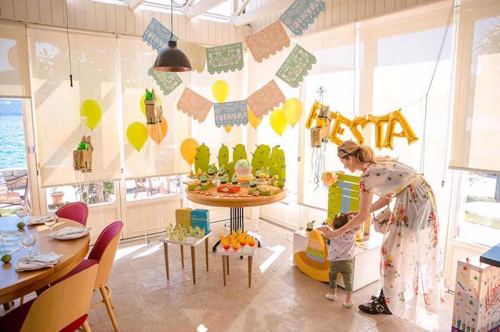 Party spread from a Pastel Fiesta Cactus Birthday Party on Kara's Party Ideas | KarasPartyIdeas.com (12)