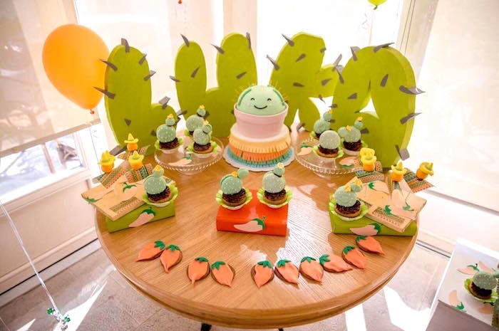 Cake table from a Pastel Fiesta Cactus Birthday Party on Kara's Party Ideas | KarasPartyIdeas.com (11)