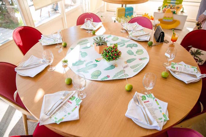 Guest table from a Pastel Fiesta Cactus Birthday Party on Kara's Party Ideas | KarasPartyIdeas.com (10)