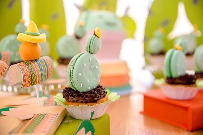 Macaron cactus cupcakes from a Pastel Fiesta Cactus Birthday Party on Kara's Party Ideas   KarasPartyIdeas.com (9)