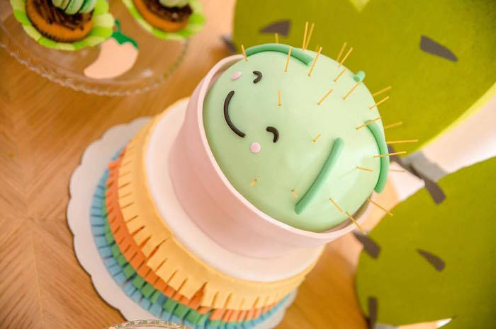 Potted Cactus Cake from a Pastel Fiesta Cactus Birthday Party on Kara's Party Ideas | KarasPartyIdeas.com (7)