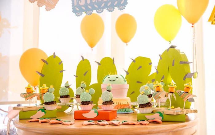Dessert table from a Pastel Fiesta Cactus Birthday Party on Kara's Party Ideas | KarasPartyIdeas.com (6)