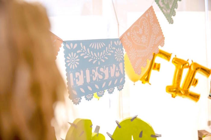 Papel picado banner from a Pastel Fiesta Cactus Birthday Party on Kara's Party Ideas | KarasPartyIdeas.com (4)