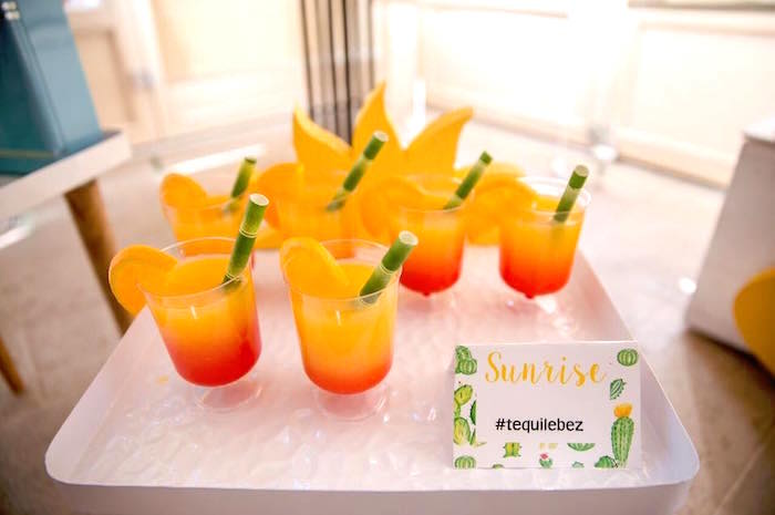 Sunrise drinks from a Pastel Fiesta Cactus Birthday Party on Kara's Party Ideas | KarasPartyIdeas.com (21)