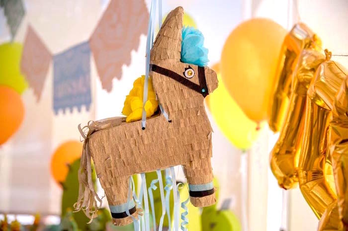 Gold burro pinata from a Pastel Fiesta Cactus Birthday Party on Kara's Party Ideas | KarasPartyIdeas.com (18)