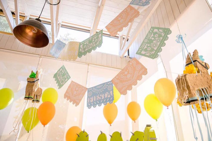 Banners & bunting from a Pastel Fiesta Cactus Birthday Party on Kara's Party Ideas | KarasPartyIdeas.com (16)