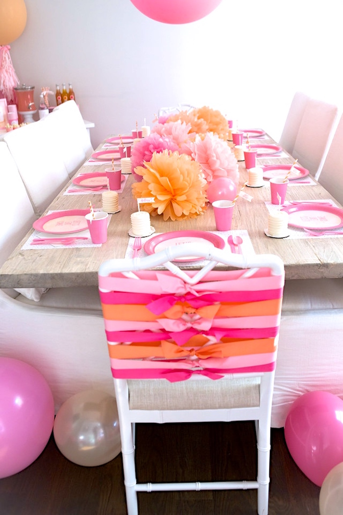 Guest tablescape from a Peach and Pink Ombre Watercolor 13th Birthday Party on Kara's Party Ideas | KarasPartyIdeas.com (23)