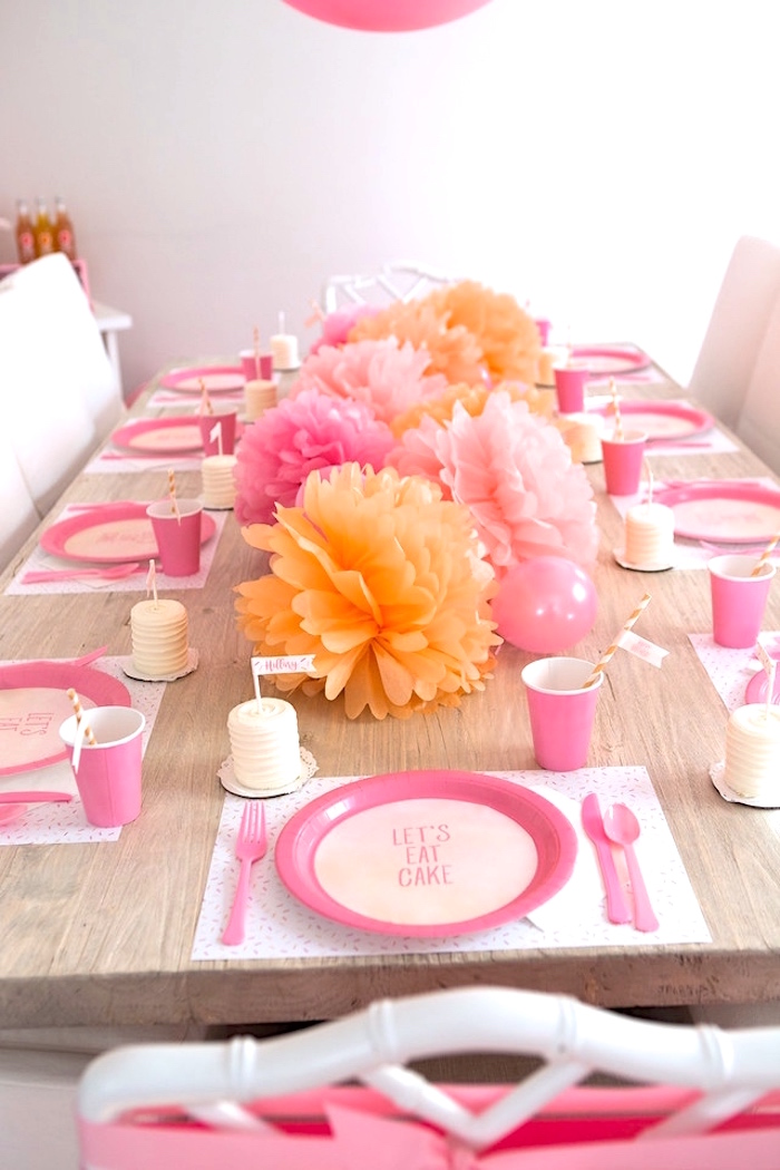 Guest tablescape from a Peach and Pink Ombre Watercolor 13th Birthday Party on Kara's Party Ideas | KarasPartyIdeas.com (22)