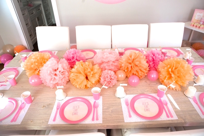 Place settings from a Peach and Pink Ombre Watercolor 13th Birthday Party on Kara's Party Ideas | KarasPartyIdeas.com (21)