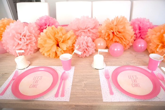 Place settings from a Peach and Pink Ombre Watercolor 13th Birthday Party on Kara's Party Ideas | KarasPartyIdeas.com (20)