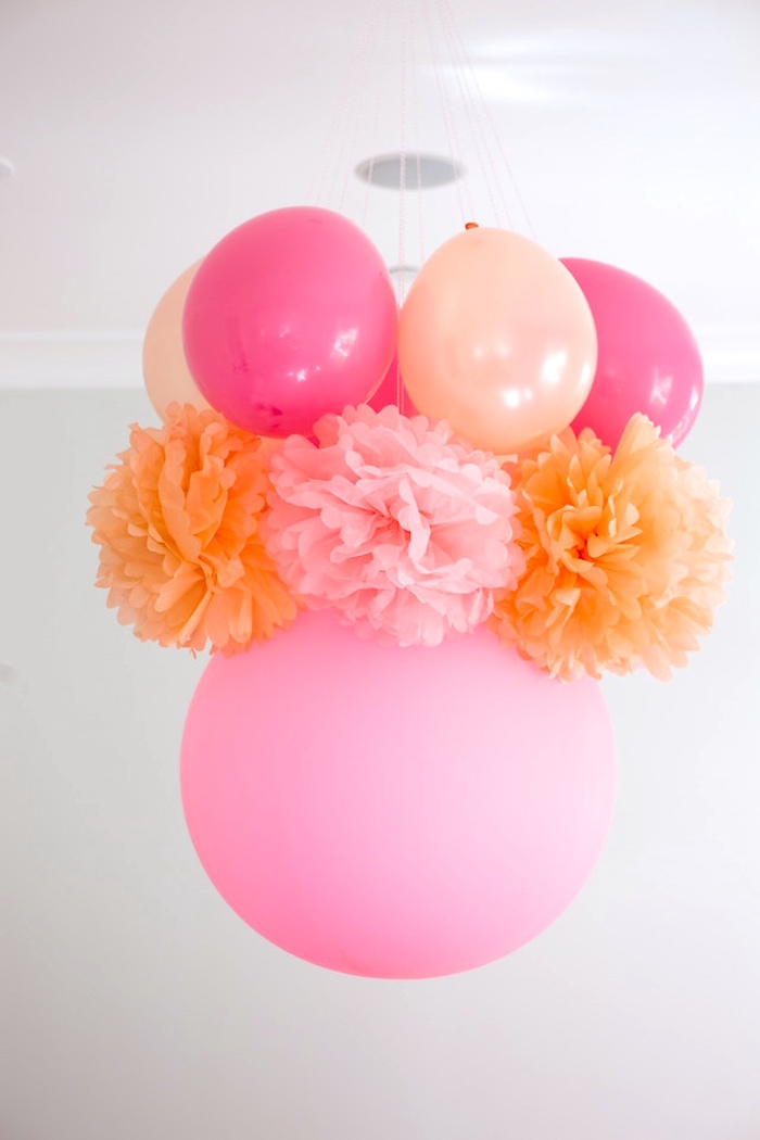 Balloon and pom chandelier from a Peach and Pink Ombre Watercolor 13th Birthday Party on Kara's Party Ideas | KarasPartyIdeas.com (19)