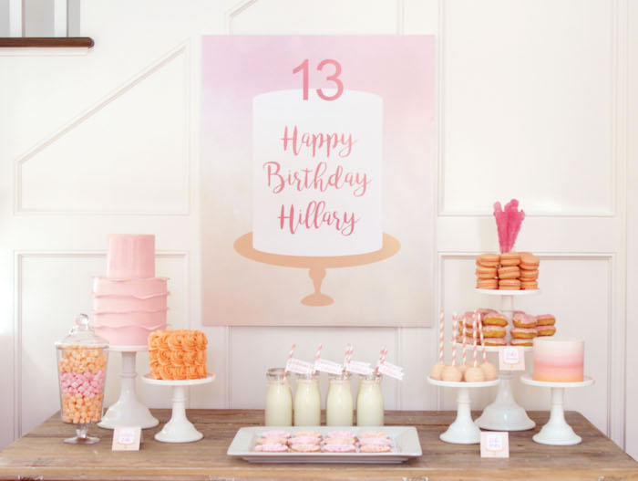 Peach and Pink Ombre Watercolor 13th Birthday Party on Kara's Party Ideas | KarasPartyIdeas.com (14)