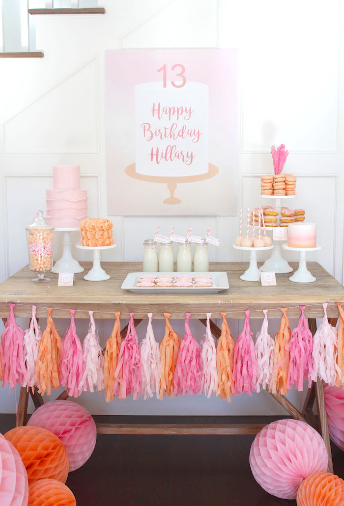 Peach and Pink Ombre Watercolor 13th Birthday Party on Kara's Party Ideas | KarasPartyIdeas.com (13)