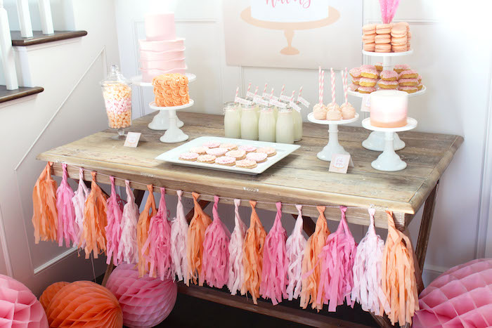 Dessert table from a Peach and Pink Ombre Watercolor 13th Birthday Party on Kara's Party Ideas | KarasPartyIdeas.com (8)