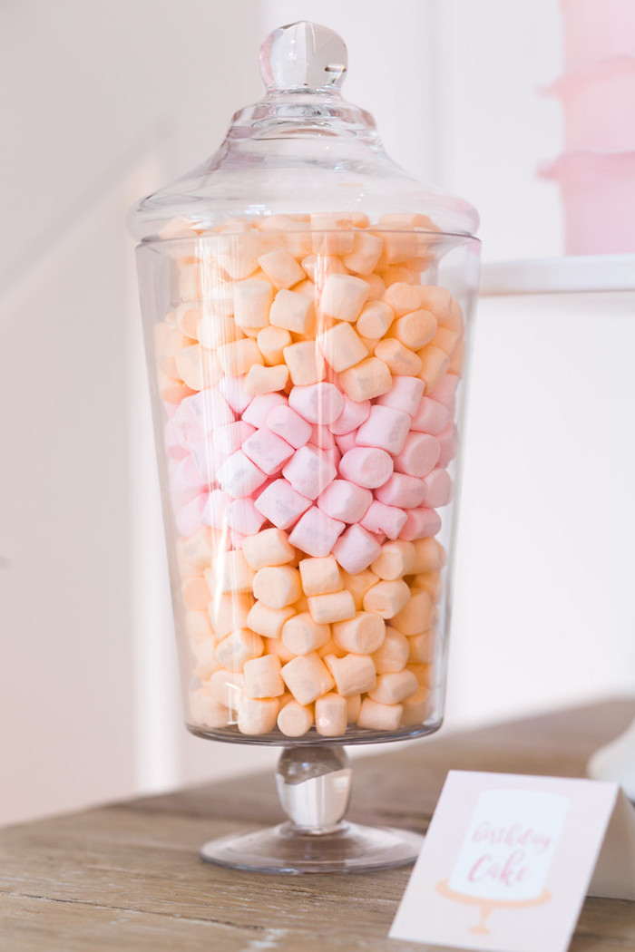 Mini marshmallows from a Peach and Pink Ombre Watercolor 13th Birthday Party on Kara's Party Ideas | KarasPartyIdeas.com (34)
