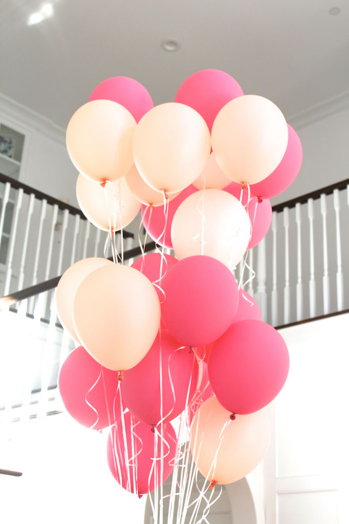 Balloon bunch from a Peach and Pink Ombre Watercolor 13th Birthday Party on Kara's Party Ideas | KarasPartyIdeas.com (6)