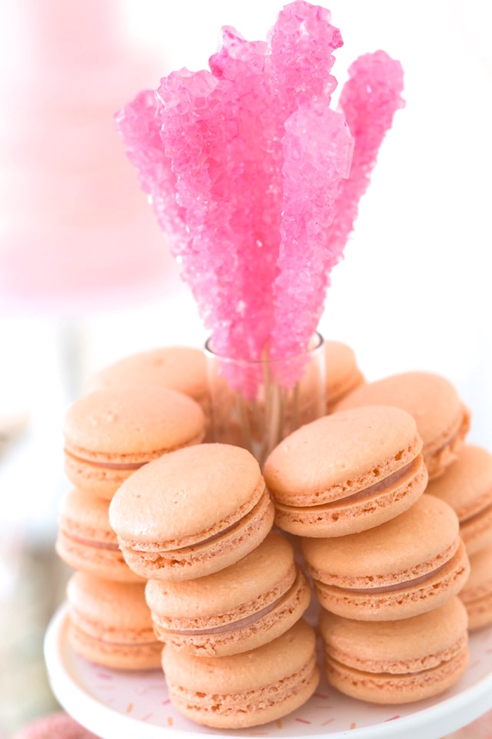 Peach macarons from a Peach and Pink Ombre Watercolor 13th Birthday Party on Kara's Party Ideas | KarasPartyIdeas.com (27)