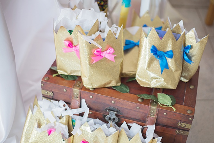 Gold favor sacks adorned with pink & blue bows from a Perfectly Pink Sleeping Beauty Birthday Party on Kara's Party Ideas | KarasPartyIdeas.com (15)