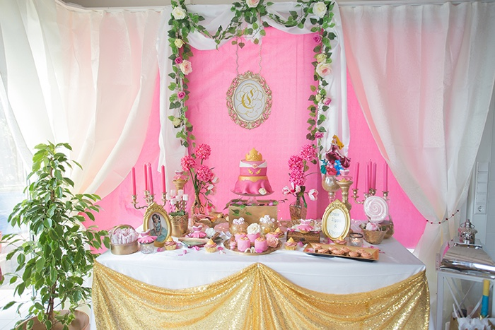 Dessert table from a Perfectly Pink Sleeping Beauty Birthday Party on Kara's Party Ideas | KarasPartyIdeas.com (13)