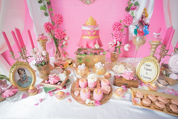 Dessert table from a Perfectly Pink Sleeping Beauty Birthday Party on Kara's Party Ideas | KarasPartyIdeas.com (11)
