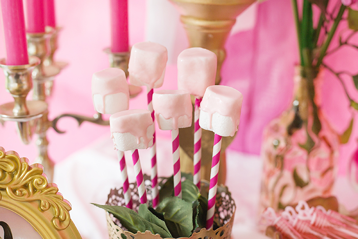 Marshmallow pops from a Perfectly Pink Sleeping Beauty Birthday Party on Kara's Party Ideas | KarasPartyIdeas.com (26)