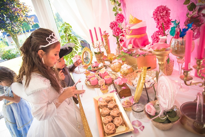 Dessert tablescape from a Perfectly Pink Sleeping Beauty Birthday Party on Kara's Party Ideas | KarasPartyIdeas.com (7)