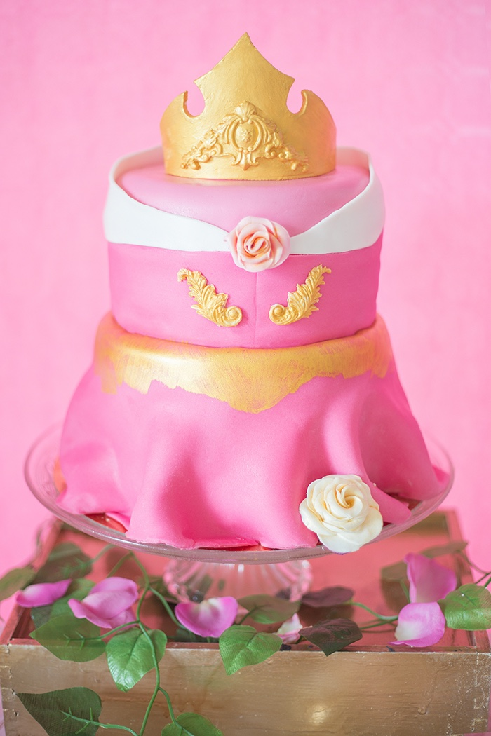 Aurora Dress Cake from a Perfectly Pink Sleeping Beauty Birthday Party on Kara's Party Ideas | KarasPartyIdeas.com (25)