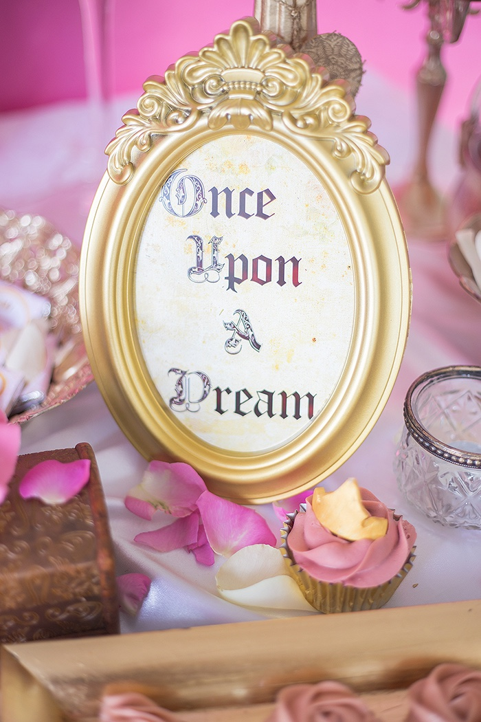 Once Upon A Dream party signage from a Perfectly Pink Sleeping Beauty Birthday Party on Kara's Party Ideas | KarasPartyIdeas.com (24)