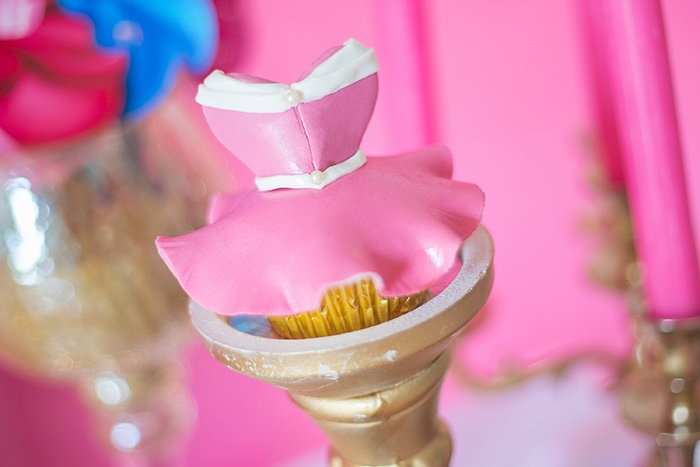 Aurora Dress Cupcake from a Perfectly Pink Sleeping Beauty Birthday Party on Kara's Party Ideas | KarasPartyIdeas.com (20)