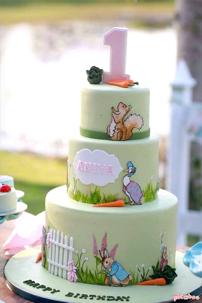 Beatrix Potter Cake from a Peter Rabbit Garden Birthday Party on Kara's Party Ideas | KarasPartyIdeas.com (26)