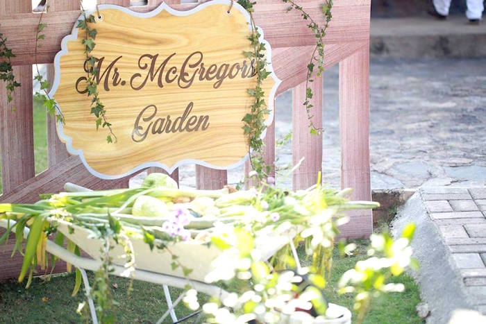 Mr. McGregor's Garden sign from a Peter Rabbit Garden Birthday Party on Kara's Party Ideas | KarasPartyIdeas.com (24)
